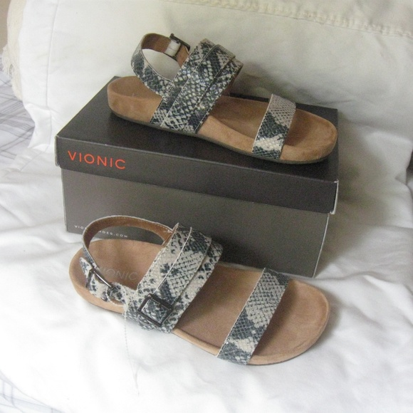 714320ceeefd VIONIC Orthotic Grace Samar Snake Print Sandals